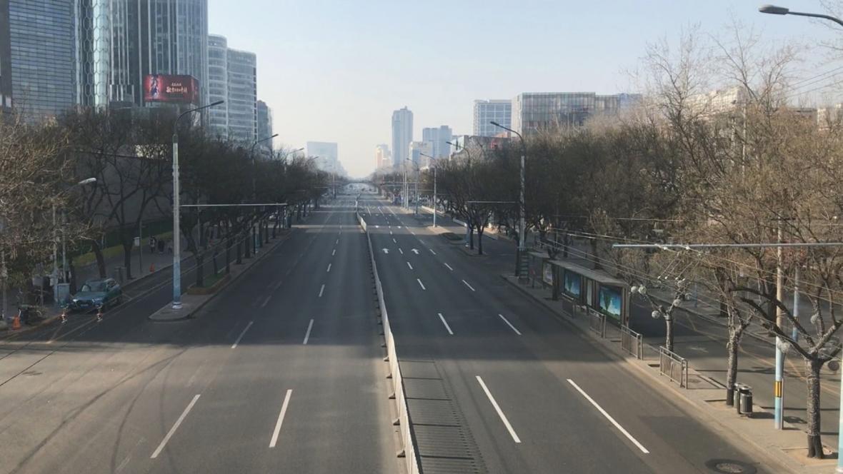 Prázdné ulice v Pekingu