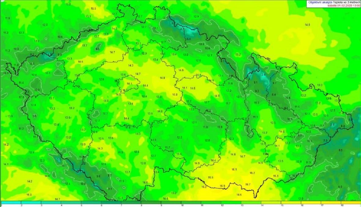 Za odpolední teplotu na začátku února, by se nemusel stydět ani první týden dubna.