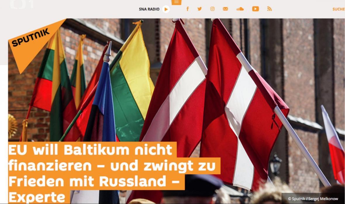 Nepravdivý článek německé mutace Sputniku o baltských zemích