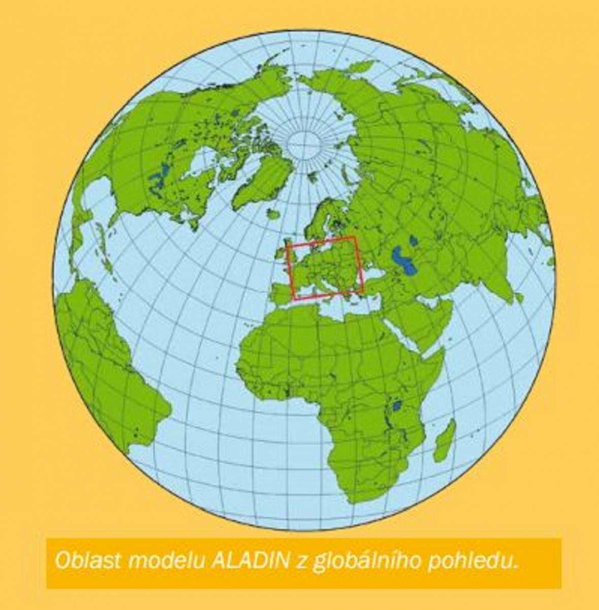 Oblast modelu Aladin z globálního pohledu
