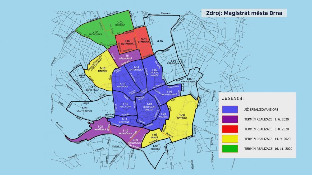 Rozšiřování rezidentního parkování v Brně v roce 2020