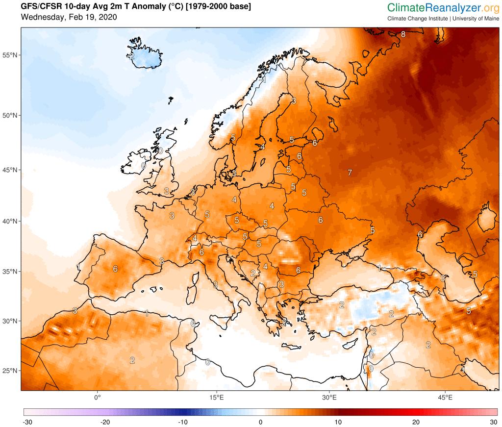 Odchylka teploty od průměru 1979-2000 v Evropě