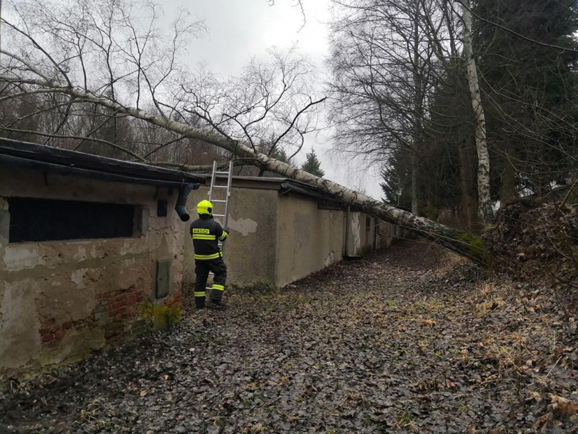 Hasiči v Karlovarském kraji zasahovali například v Horním Slavkově, kde spadl strom na řadové garáže
