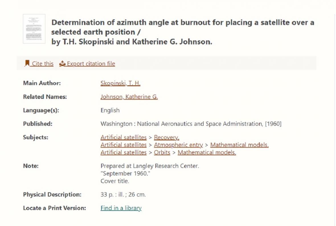 Článek podepsaný Katherine Johnsonovou