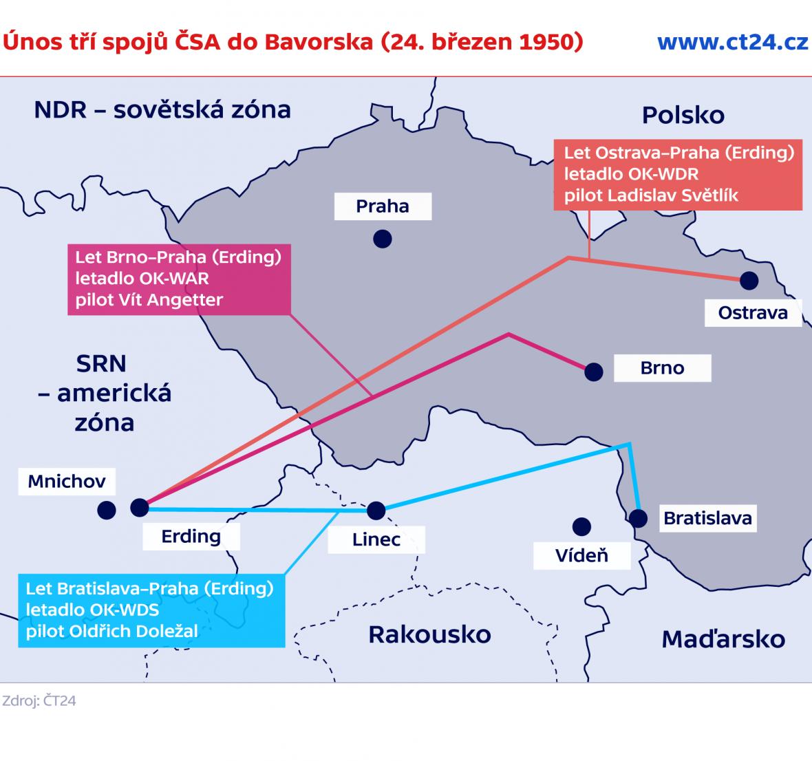 Únos tří spojů ČSA do Bavorska (24. březen 1950)