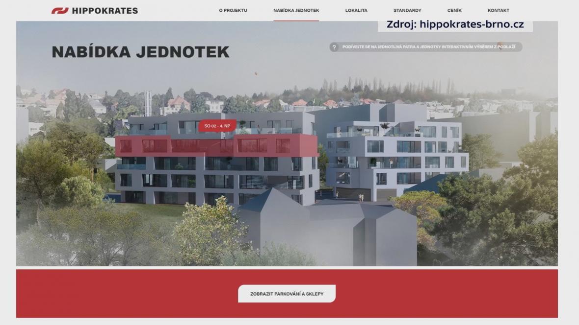 Webové stránky objektu u brněnského výstaviště