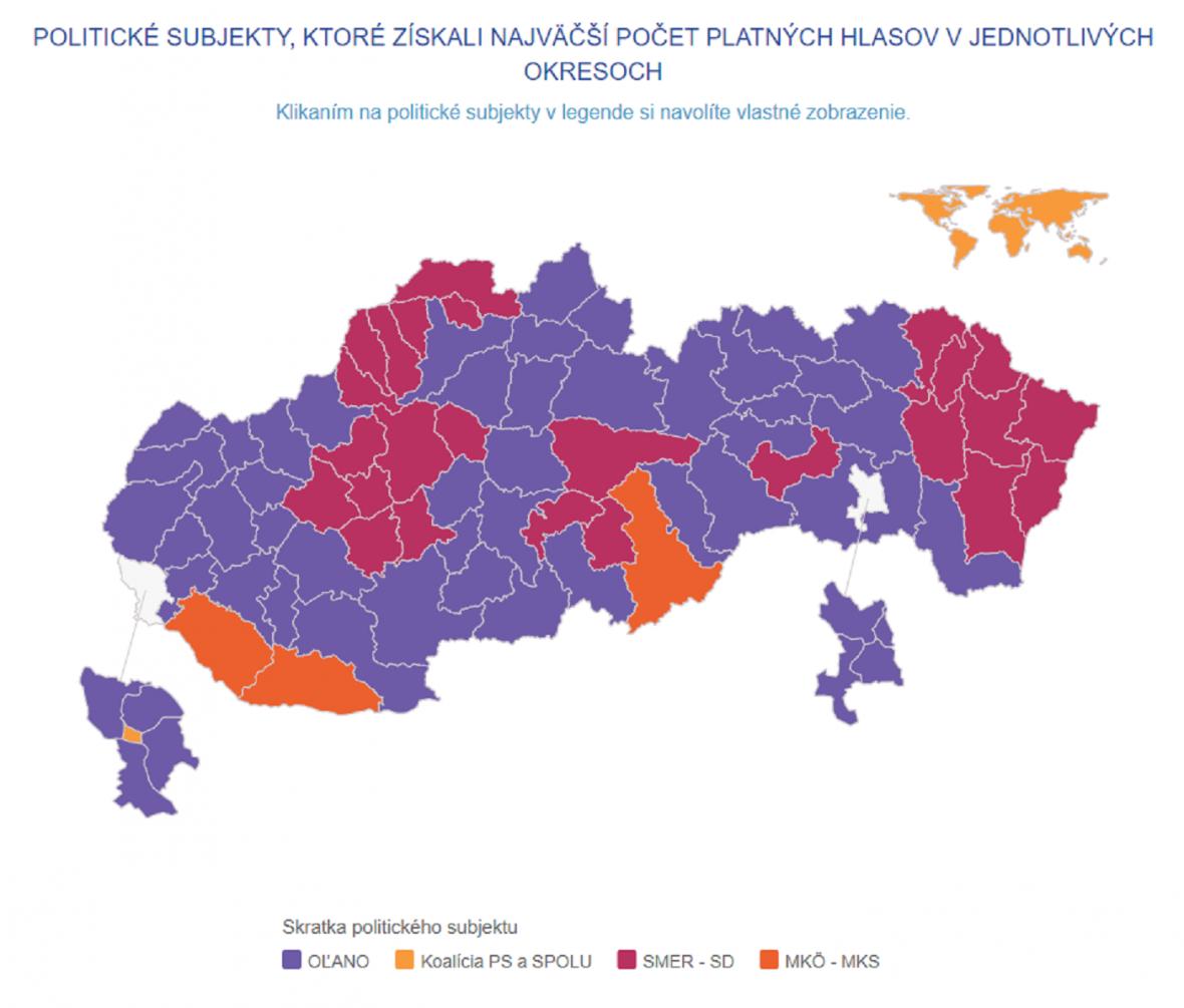 Vítězové voleb ve slovenských okresech