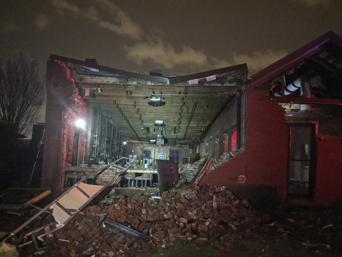 Zničené domy v Nashvillu