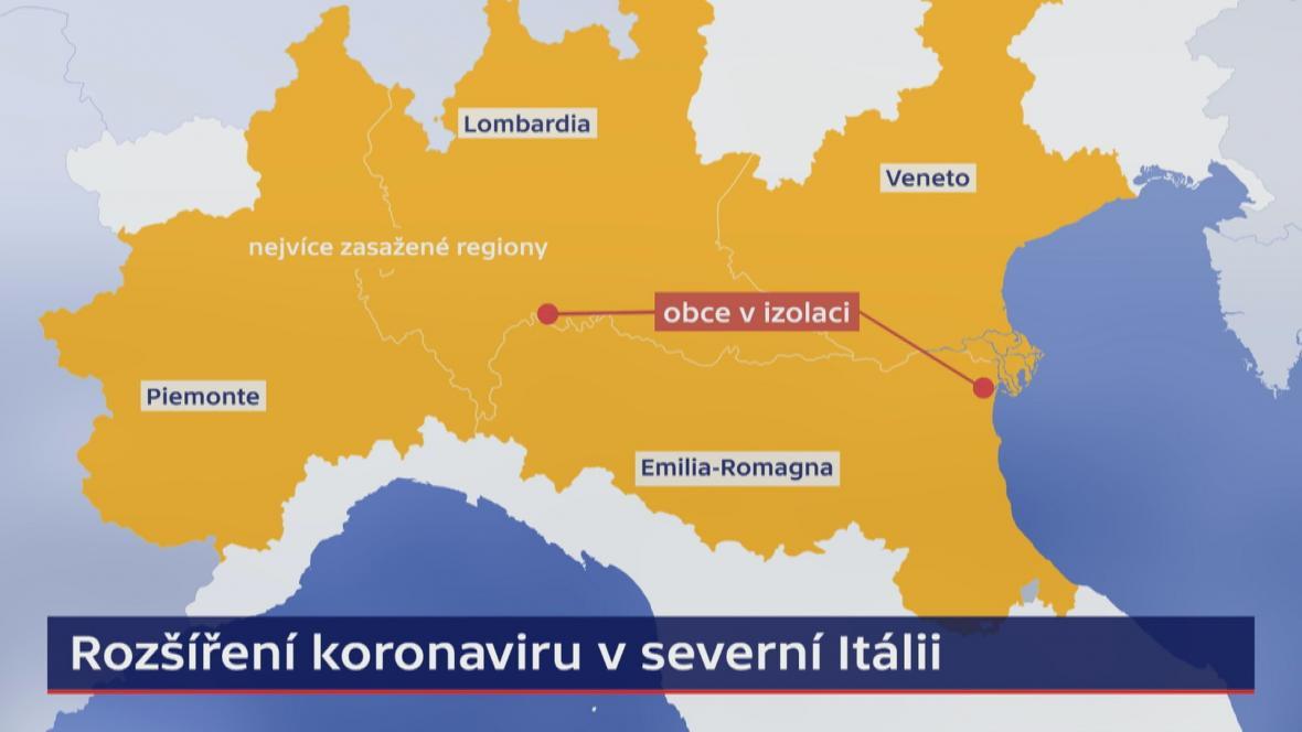 Rozšíření koronaviru v severní Itálii (4.3.)