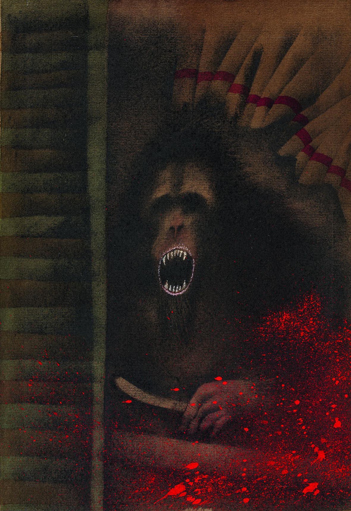 Adolf Born / Vraždy v ulici Morgue, ilustrace ke knize Jáma a kyvadlo a jiné povídky, 1988