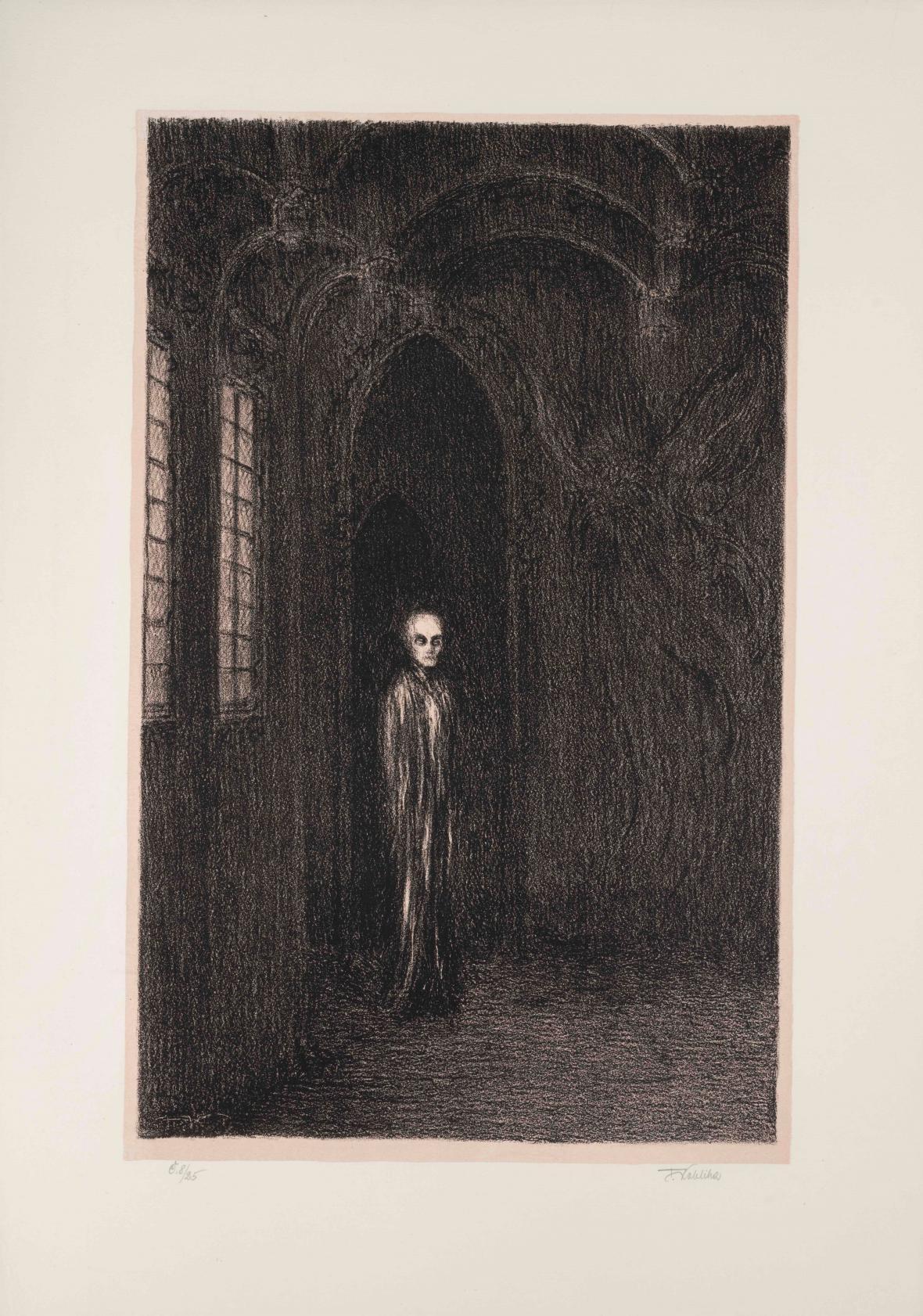 František Kobliha / Maska červené smrti, z cyklu Třicet litografií k básním a prosám E. A. Poe, 1950