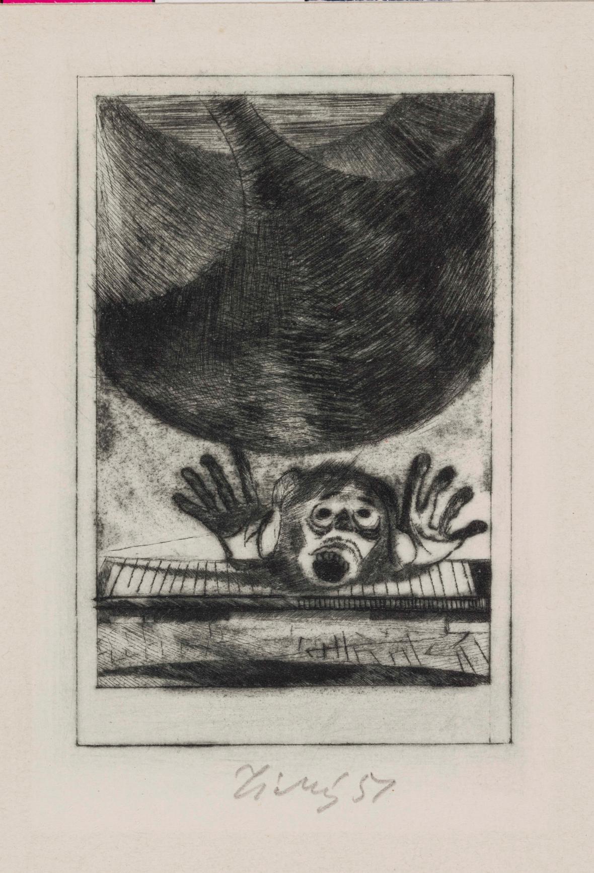 František Tichý / Jáma a kyvadlo, ilustrace k povídce E. A. Poea, 1948