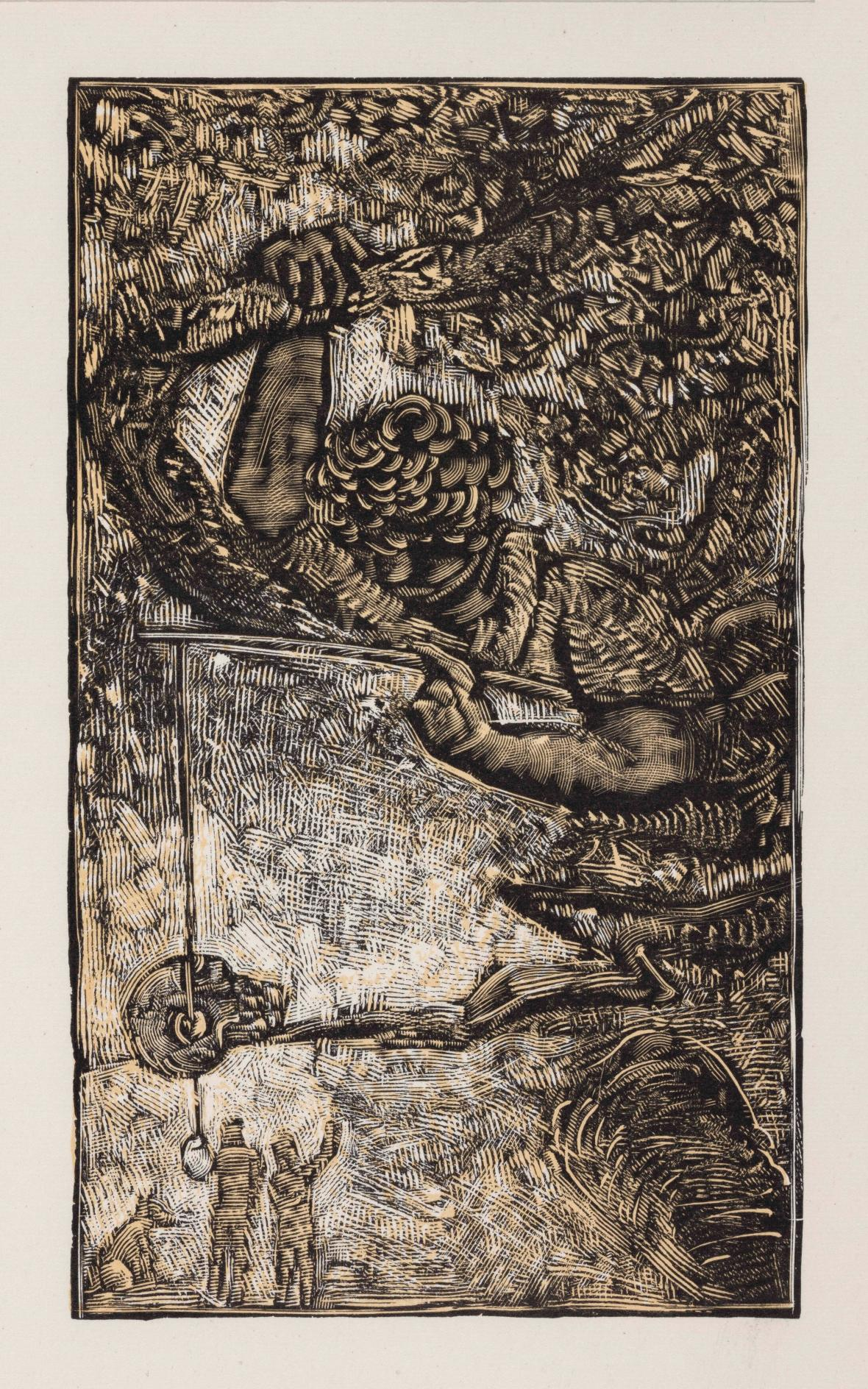 Josef Váchal /  Zlatý chrobák, (E. A. Poe v dřevorytu), 1945