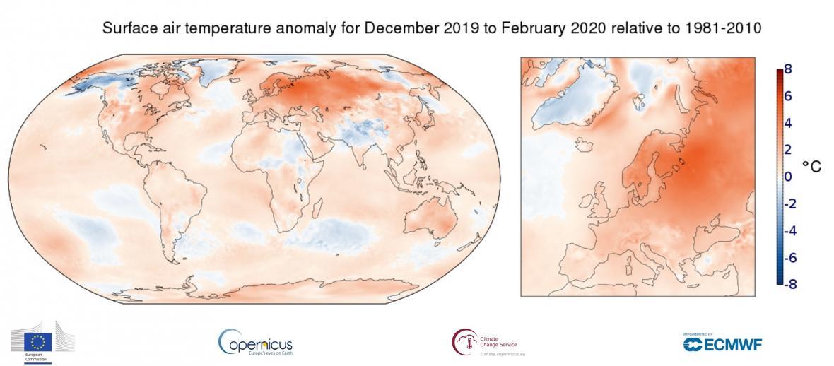 Teploty za zimu 2019/2020 vůči průměru za roky 1981-2010
