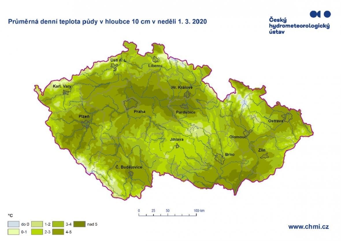Průměrná denní teplota půdy v hloubce 10 centimetrů