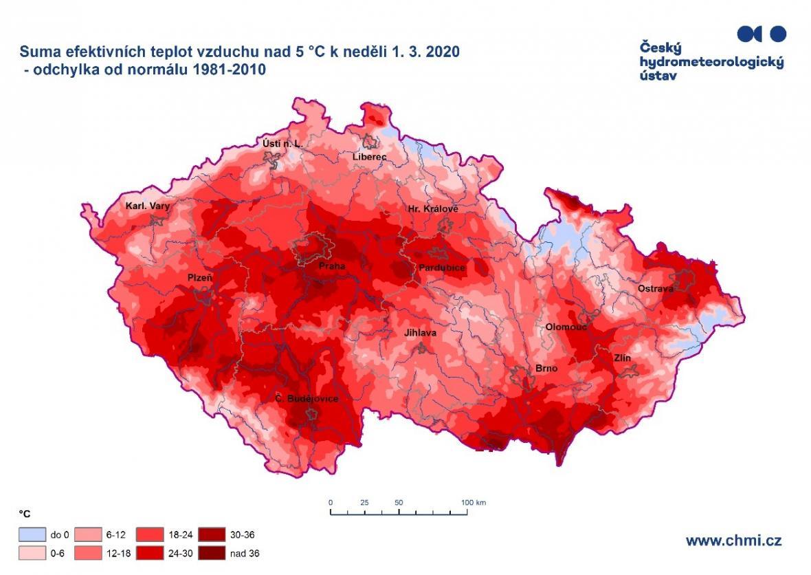 Suma efektivních teplot vzduchu - odchylka od normálu