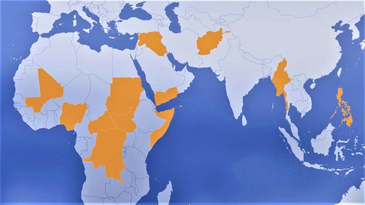 Země, v nichž podle UNICEF bojují dětští vojáci