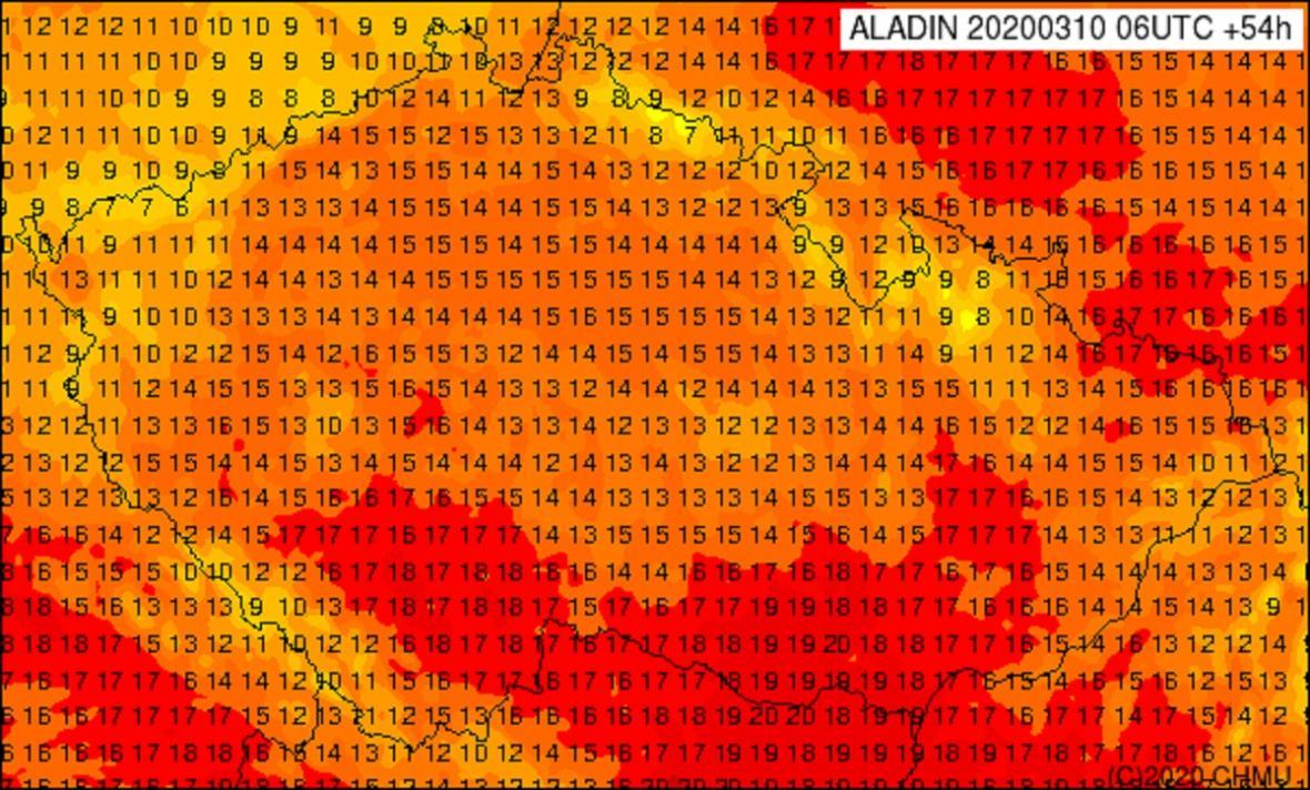 Předpověď teplot na čtvrtek