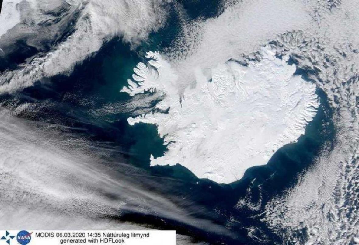 Družicový snímek Islandu