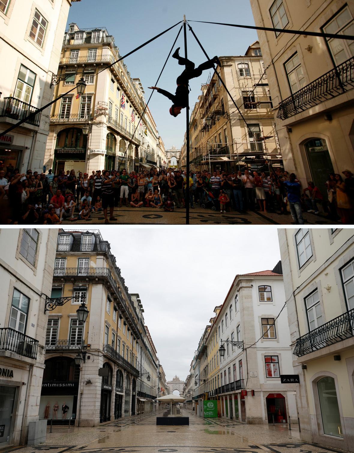Z ulic portugalské metropole zmizeli umělci i jejich diváci