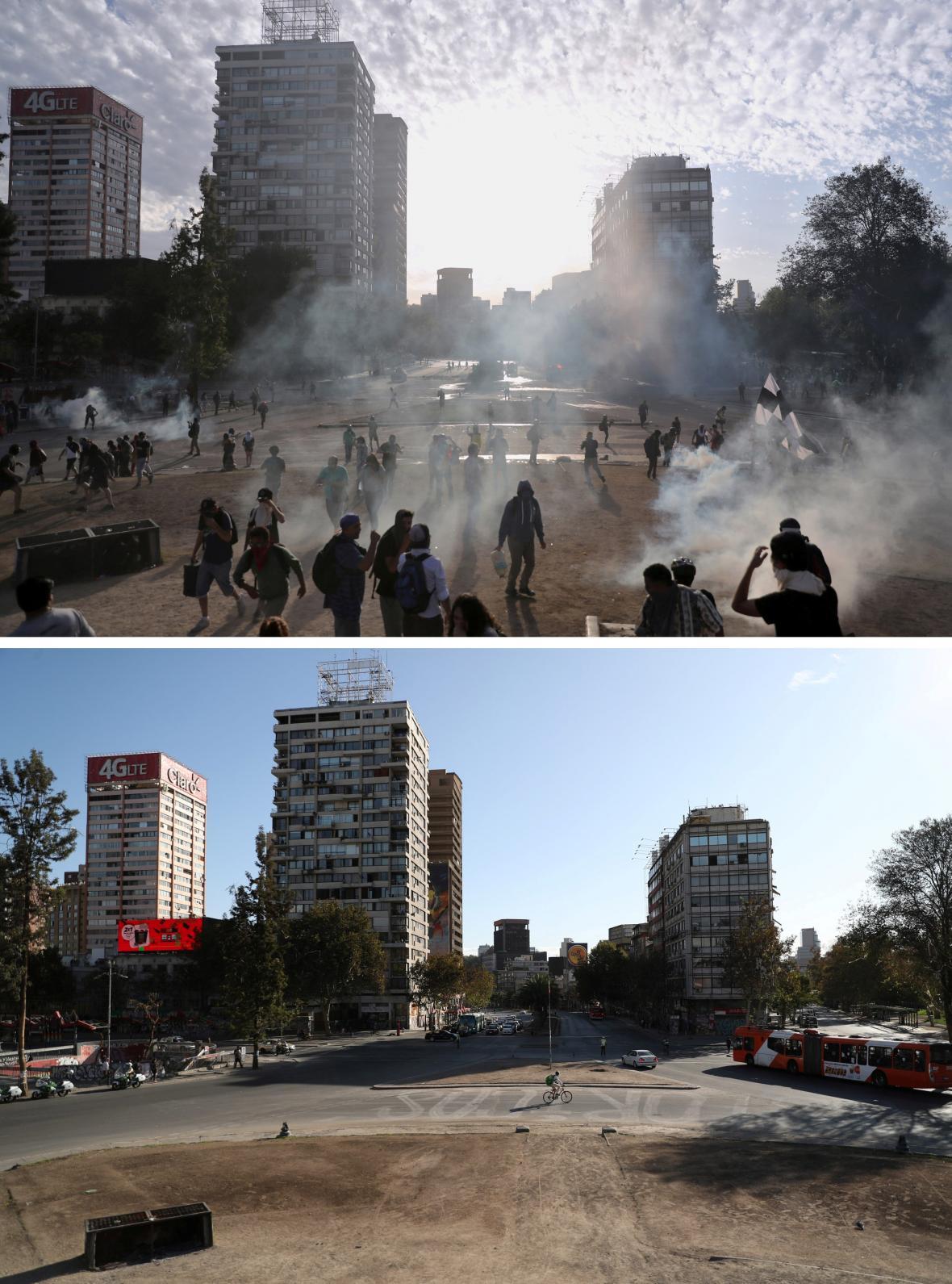 Ještě v listopadu byl náměstí Plaza de la Dignidad v Santiagu de Chile plné demonstrantů