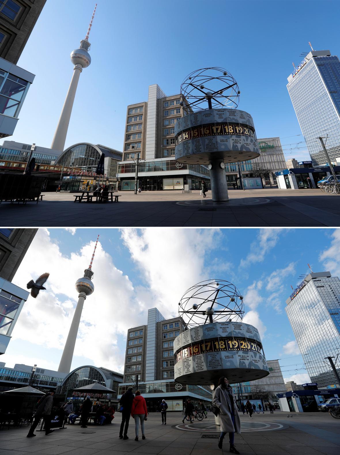 Alexanderplatz v Berlíně zeje prázdnotou