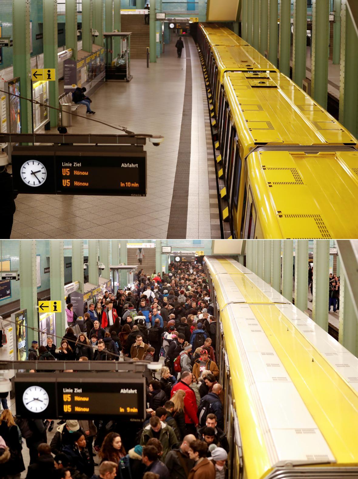 Vylidněné metro v německé metropoli