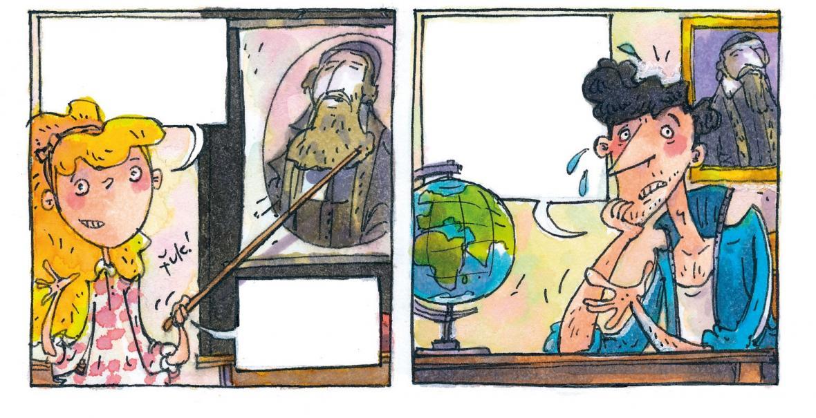 Ilustrace z knihy Tomáše Němečka J. A. Komenský