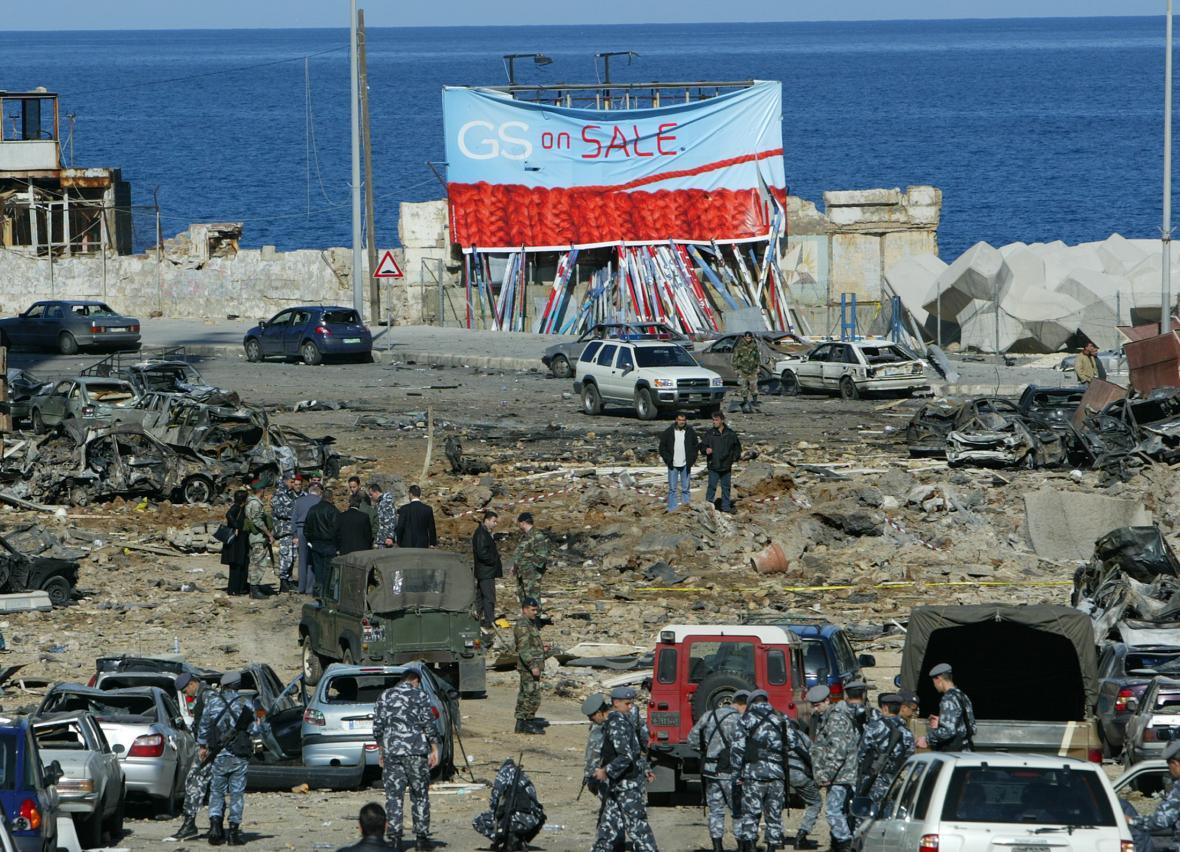 Místo v Bejrútu, kde byl spáchán atentát na libanonského premiéra Harírího