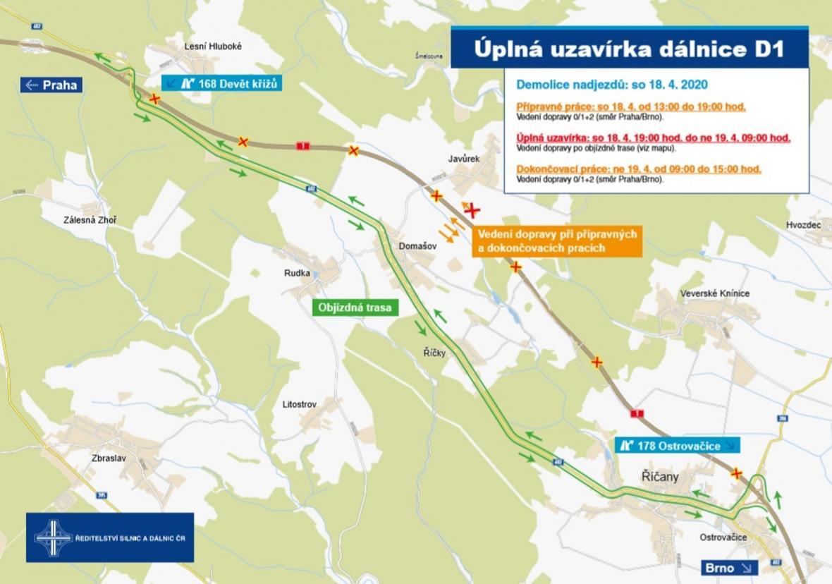 Uzavírka D1 u Brno