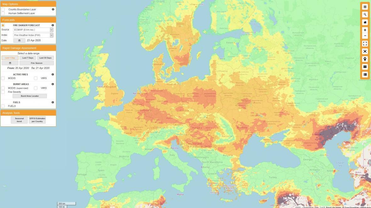Riziko lesních požárů vEvropě – předpověď pro čtvrtek 23. dubna 2020
