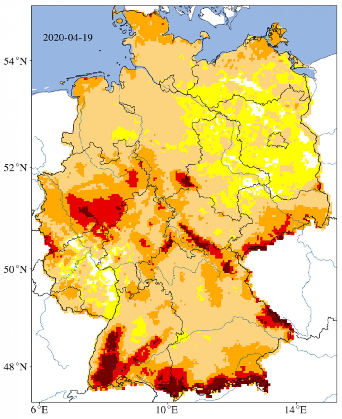 Sucho vNěmecku - situace vpovrchové vrstvě půdy (do 25 cm)
