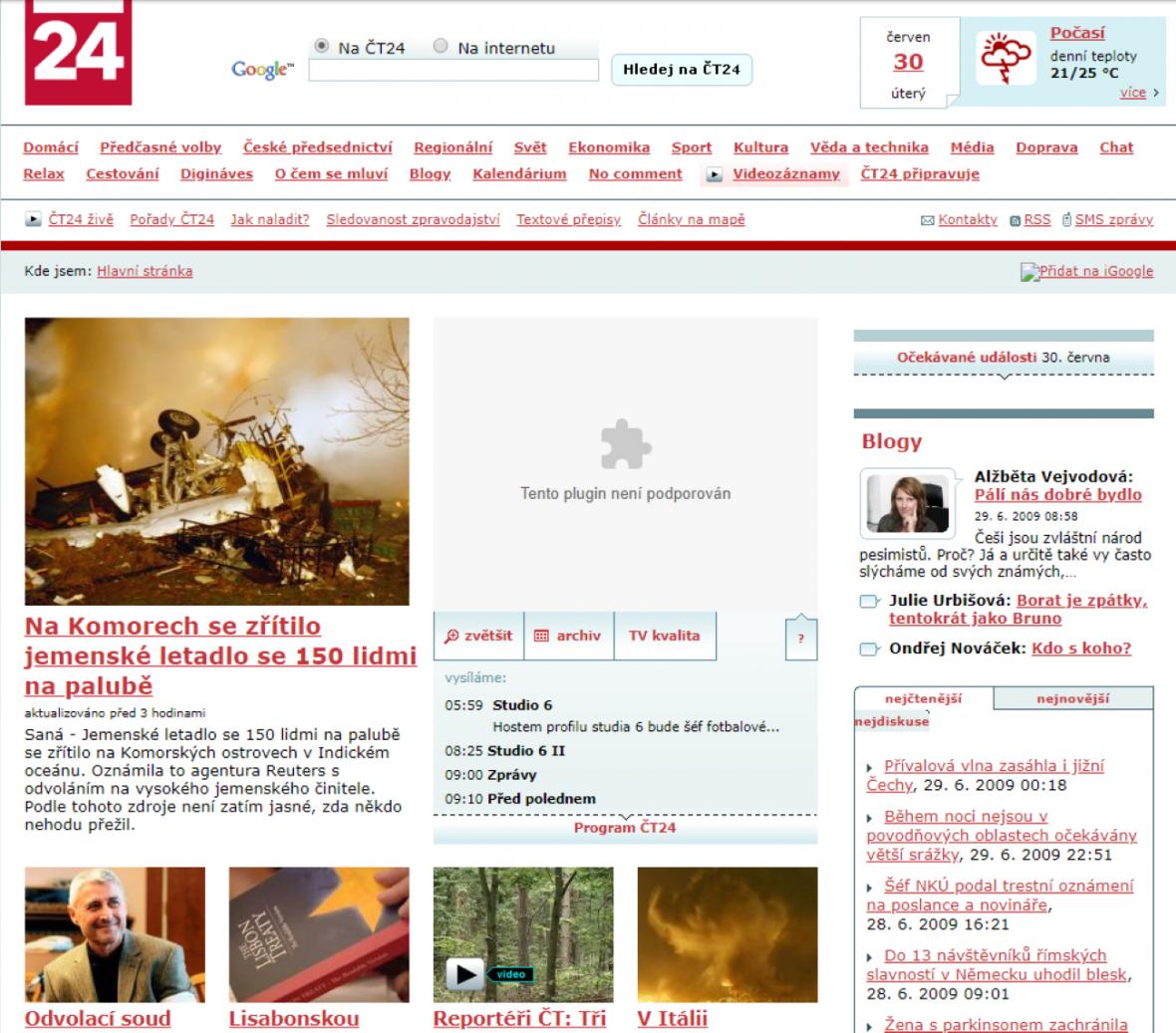 Web ČT24 v roce 2009
