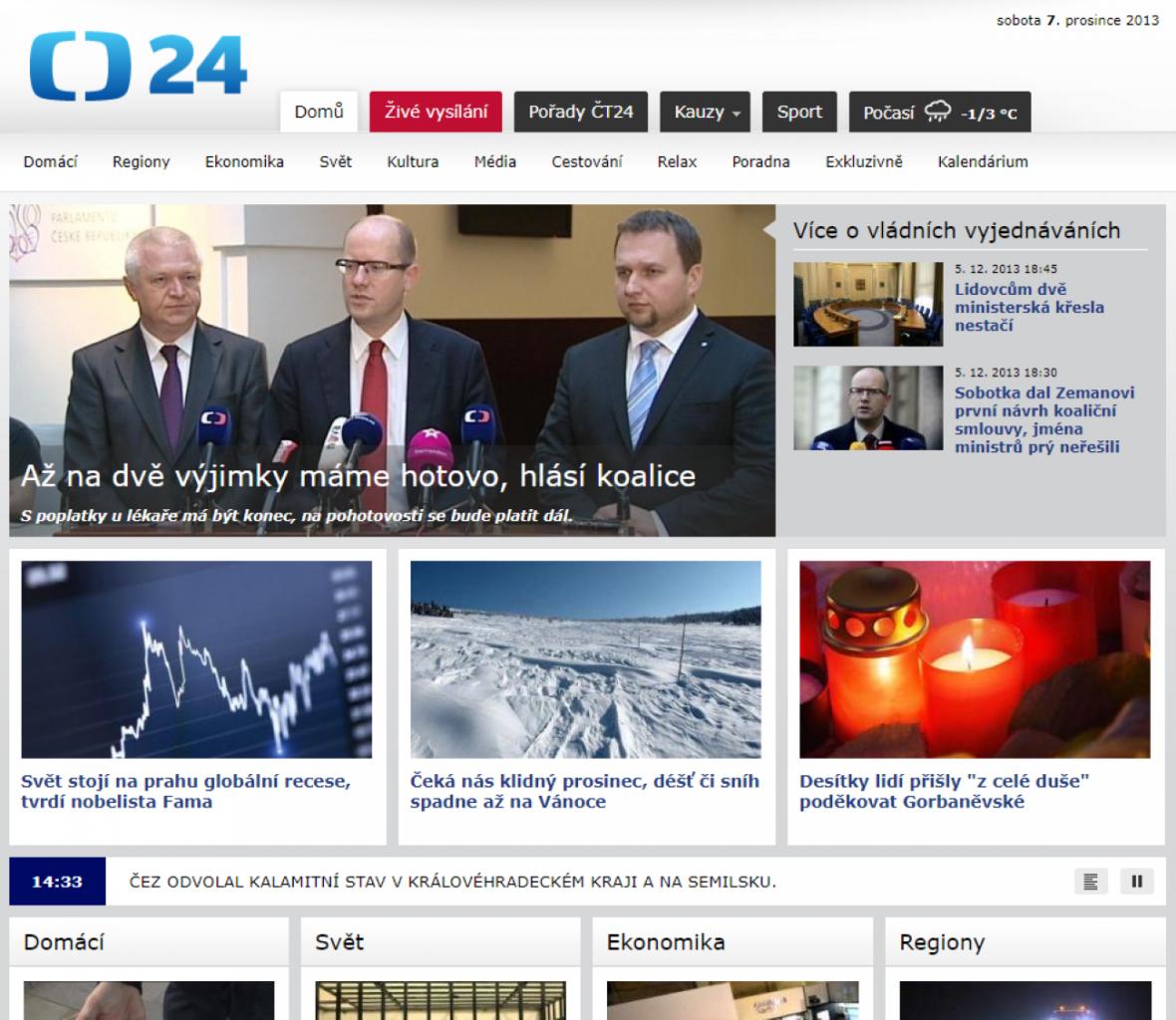 Web ČT24 v roce 2013