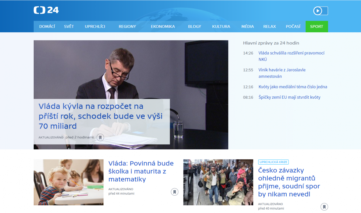 Web ČT24 v roce 2015