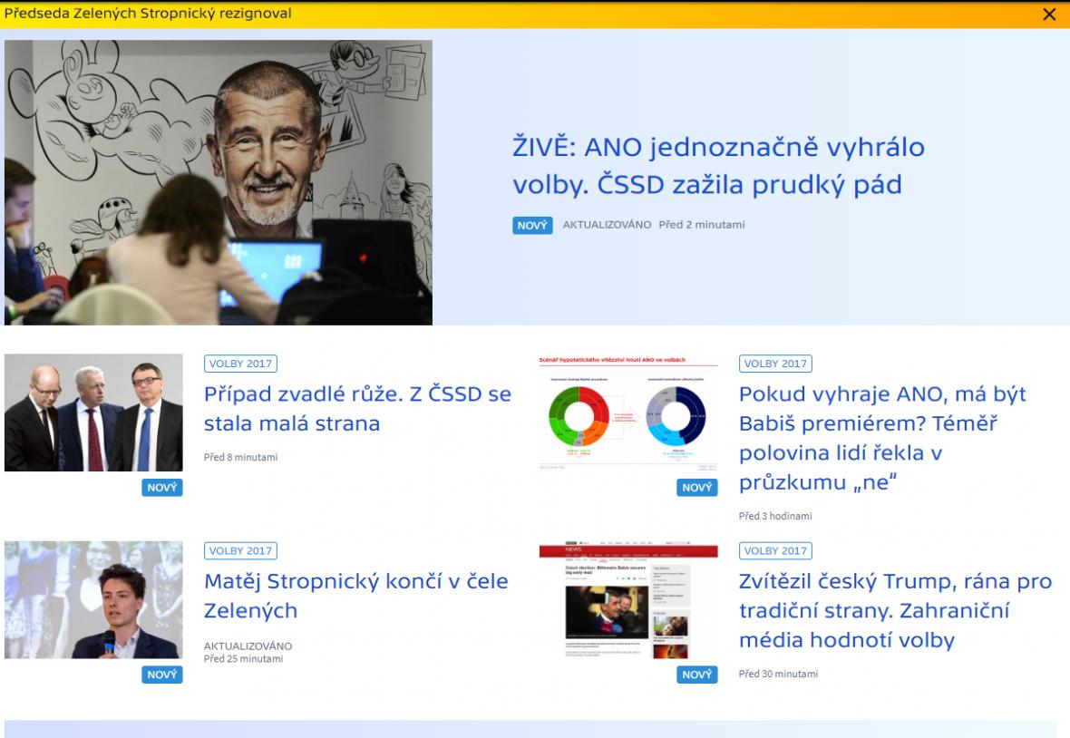 Web ČT24 v roce 2017
