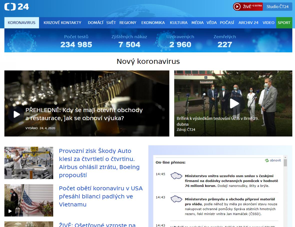 Speciál ke koronaviru na webu ČT24