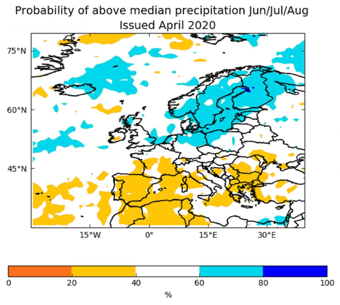 Podle Evropského centra pro sezónní předpovědi je zatím 50% pravděpodobnost jak pro suché a horké léto, tak pro chladné a deštivé.