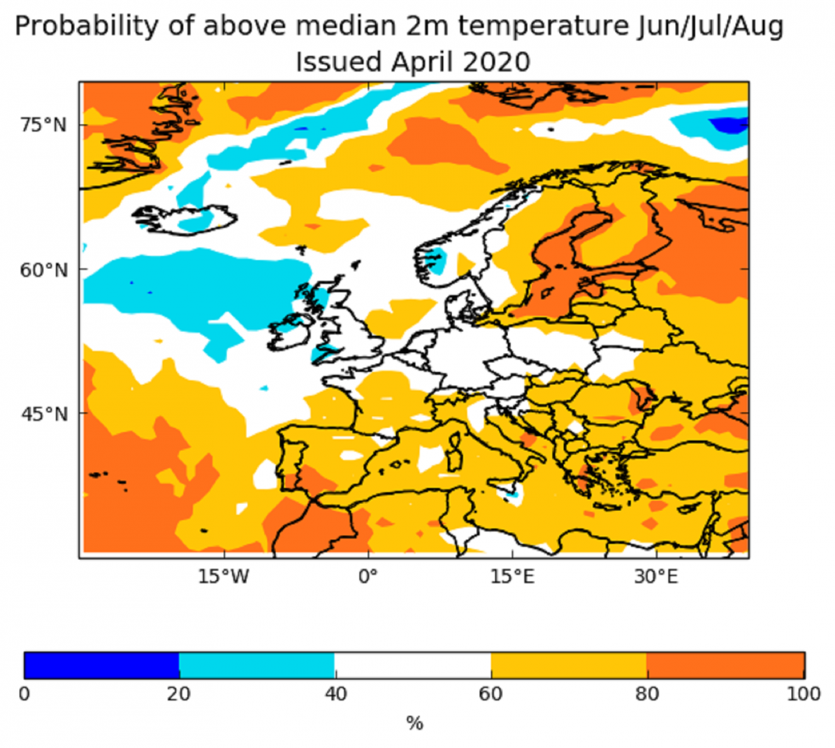 Podle Evropského centra pro sezónní předpovědi je zatím 50% pravděpodobnost jak pro suché a horké léto, tak pro chladné a deštivé