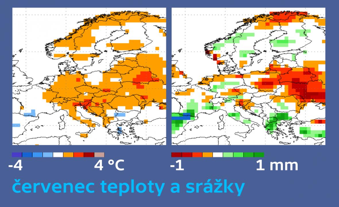 Teplý červenec s normálními nebo podprůměrnými srážkami