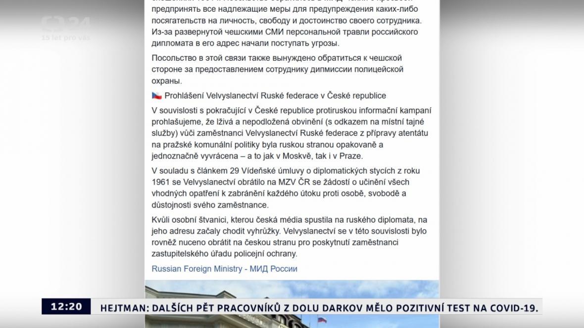 Příspěvek na facebookové stránce ruské ambasády
