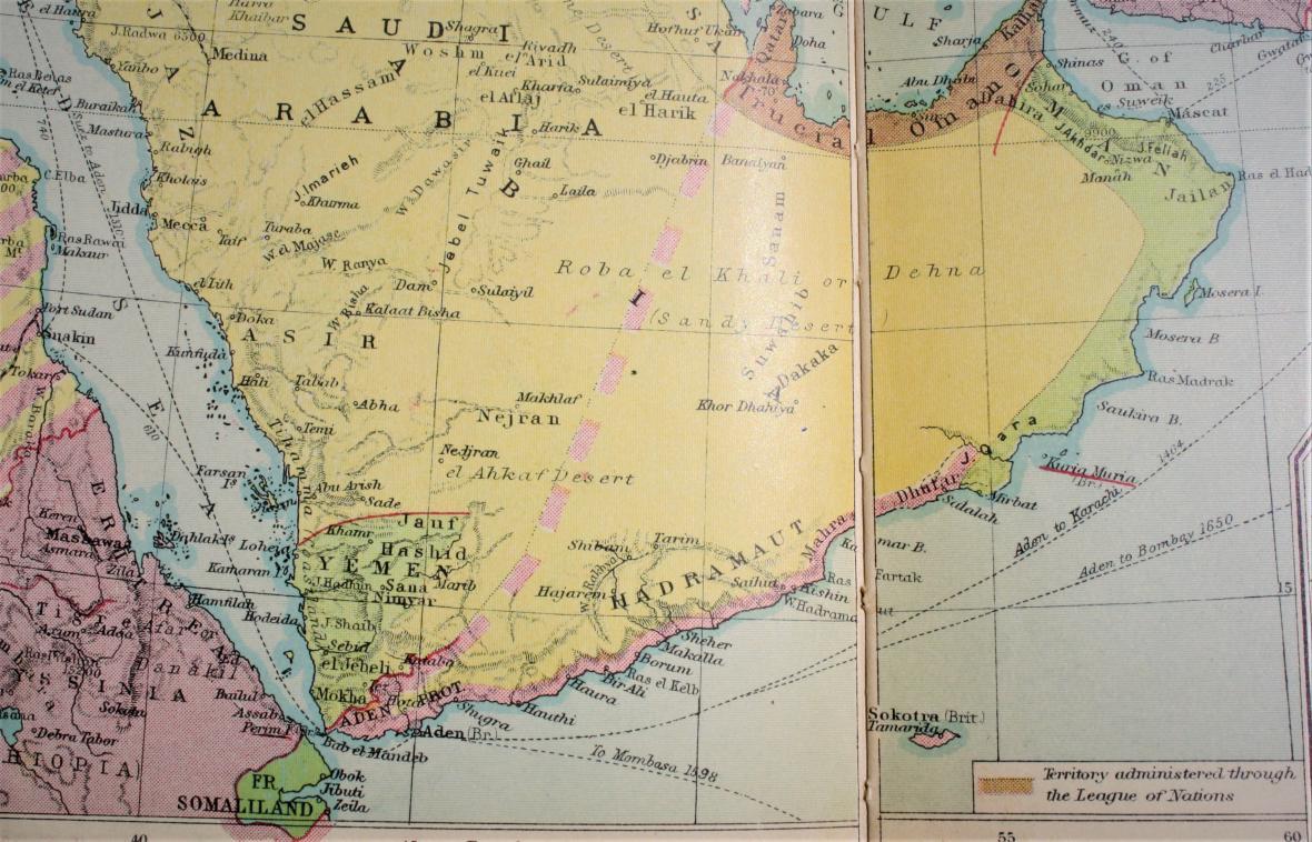 Arabský poloostrov v roce 1938