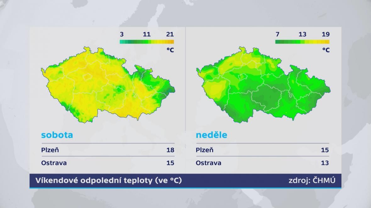 Víkendové teploty v Česku