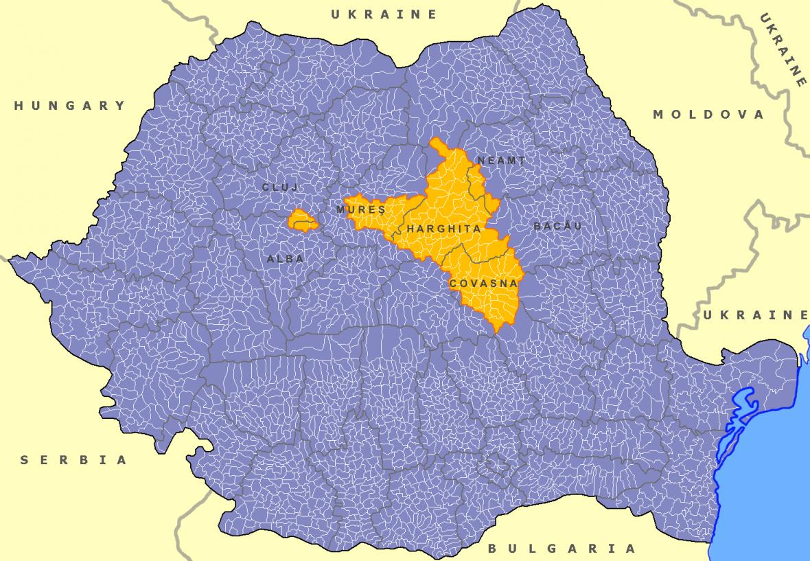 Sikulsko na mapě Rumunska