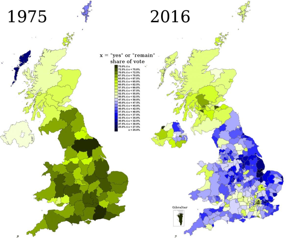 Výsledky referend v letech 1975 a 2016