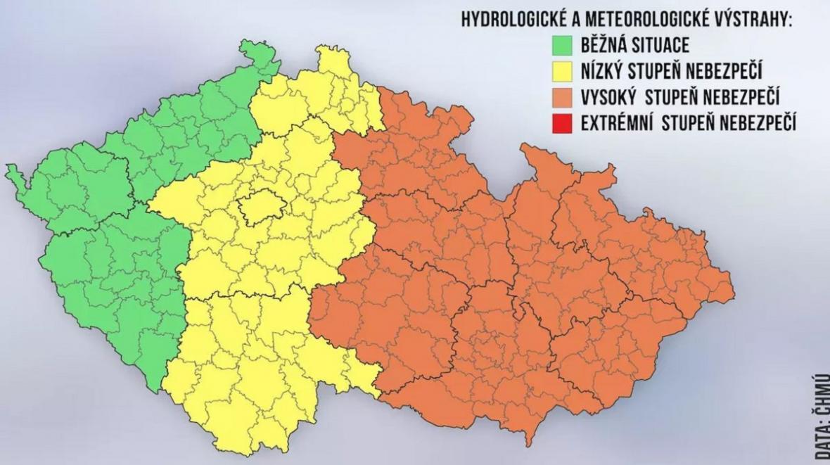 Ve čtvrtek bude pravděpodobně vydána výstraha ČHMÚ před nebezpečným počasím
