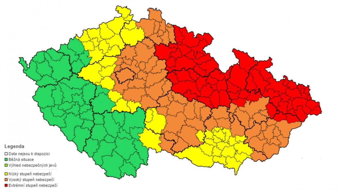 Mapa výstrah ČHMÚ