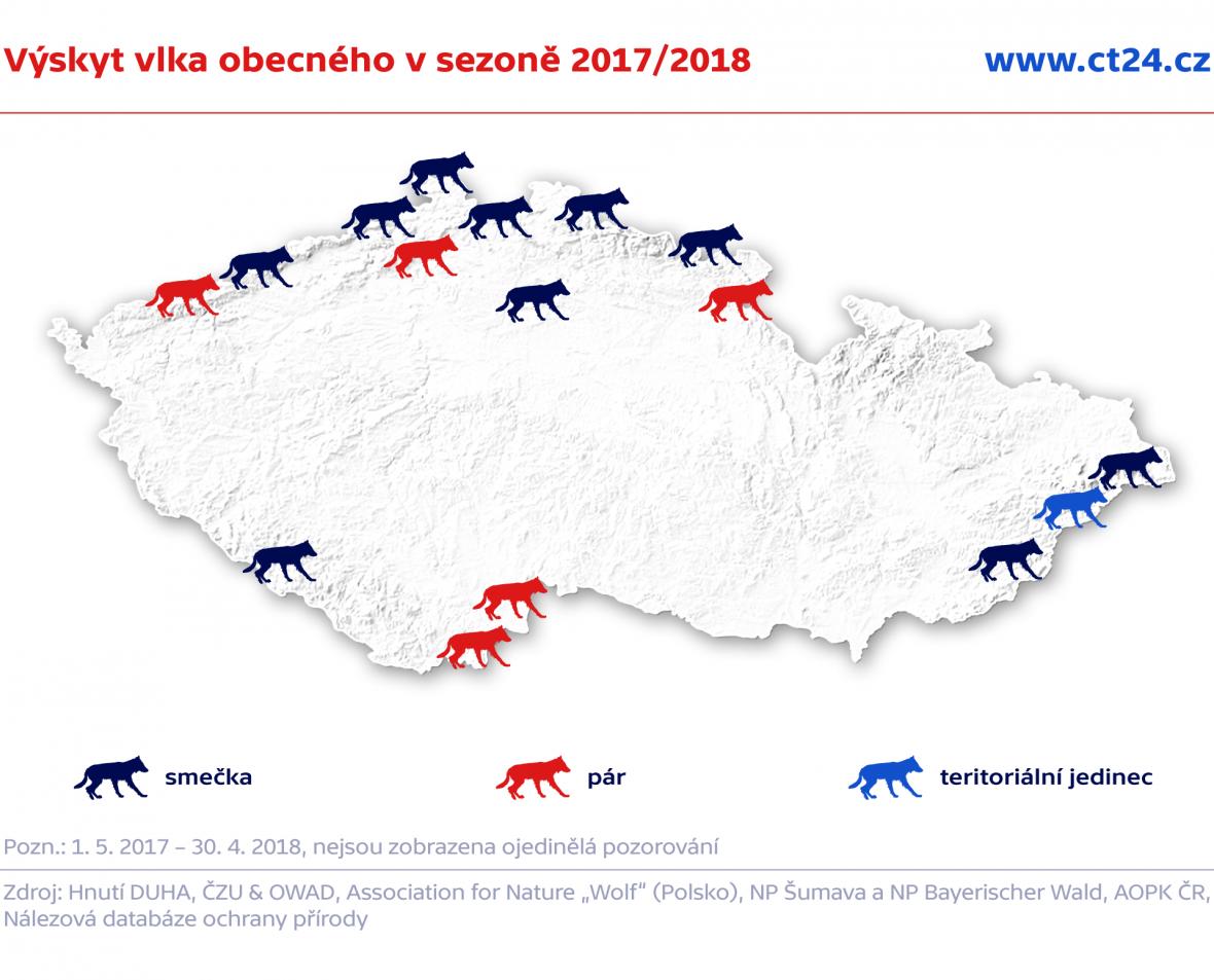 Výskyt vlka obecného v sezoně 2017/2018