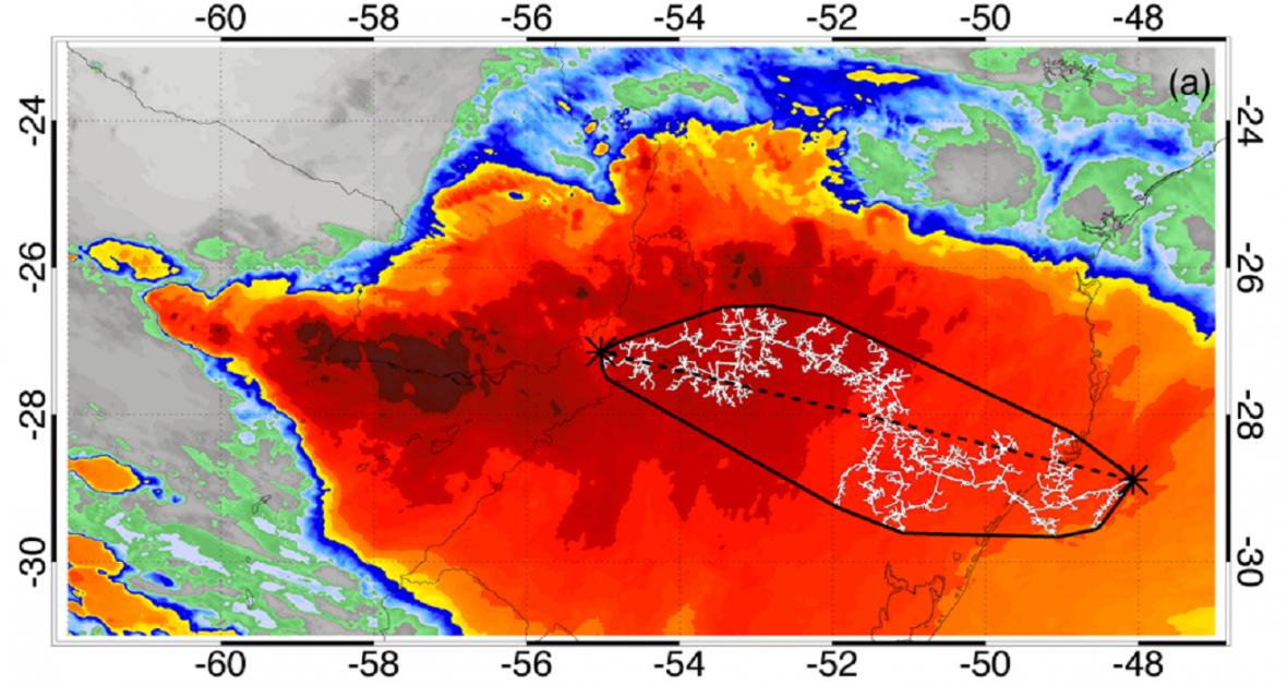 Satelitní snímek nejdelšího blesku