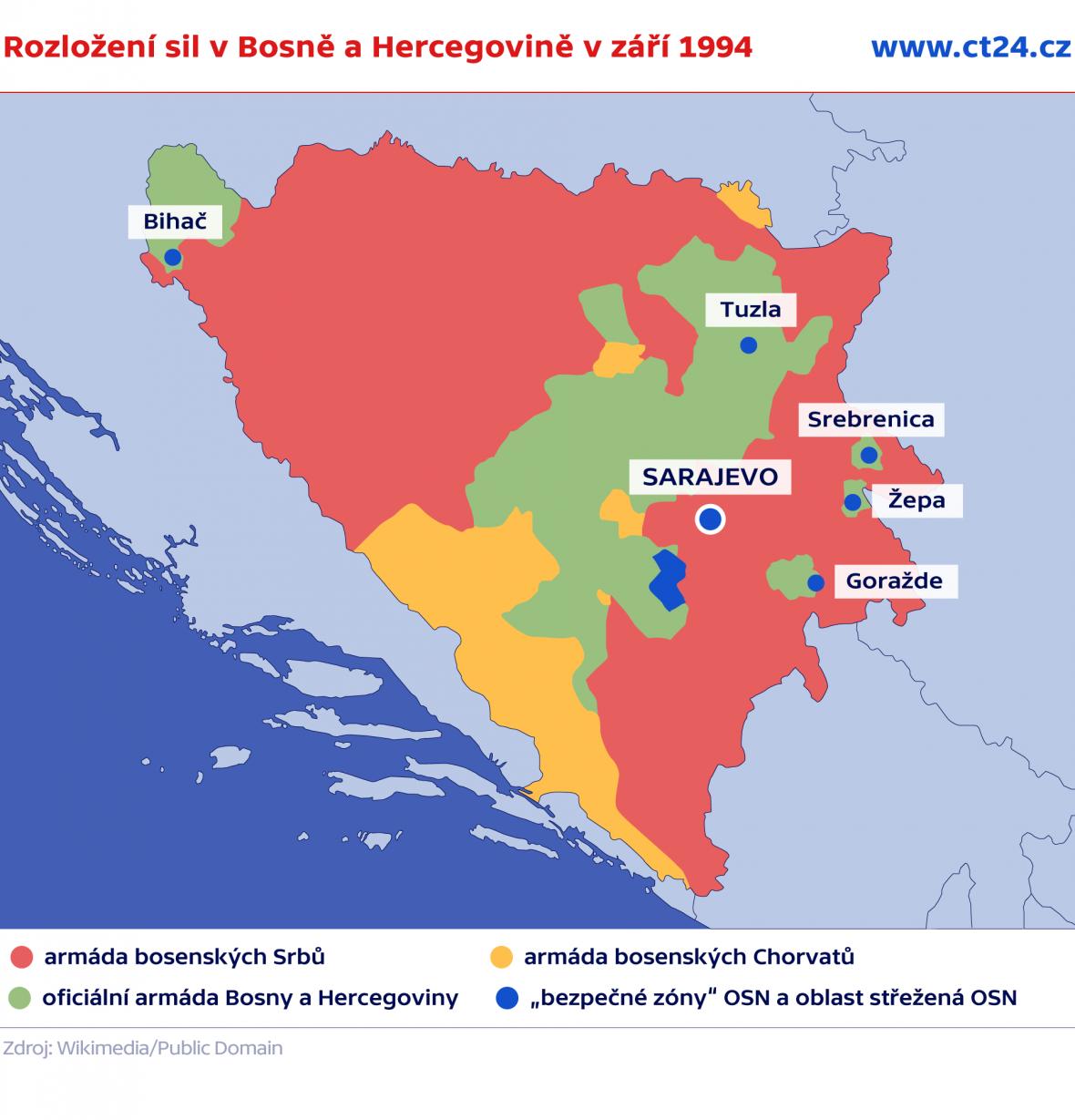 Rozložení sil v Bosně a Hercegovině v září 1994